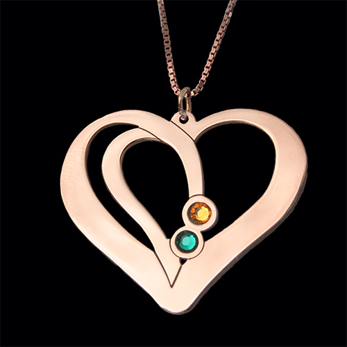 Engraved Couples Necklace Rose Gold Plated
