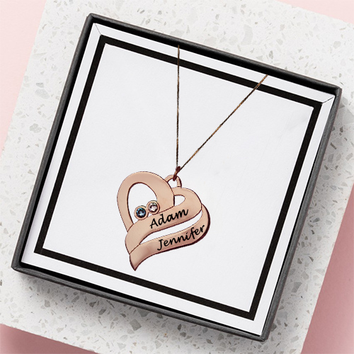 Two Hearts Necklace Rose Gold Plated