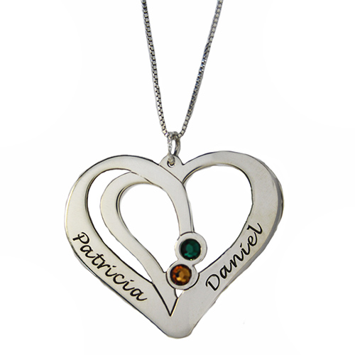 Engraved Couples Necklace in Sterling Silver