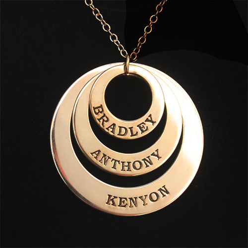 Three Disc Necklace for Mothers 18K Gold Plated