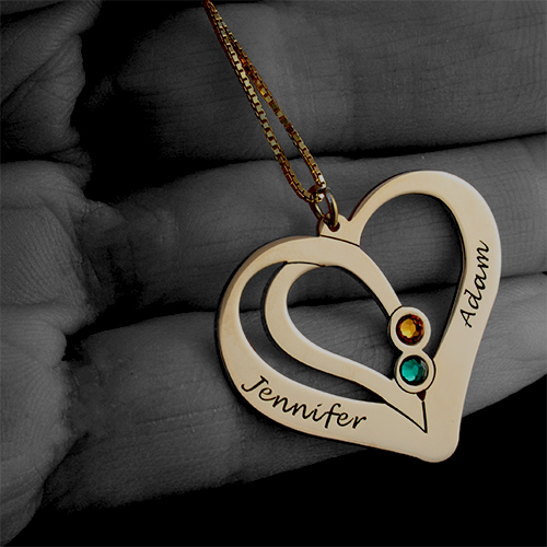 Engraved Couples Necklace Gold Plated