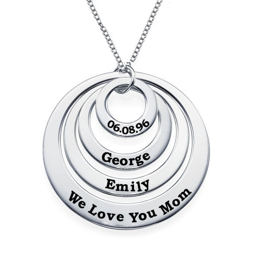 Engravable Classic Discs Necklace in Silver