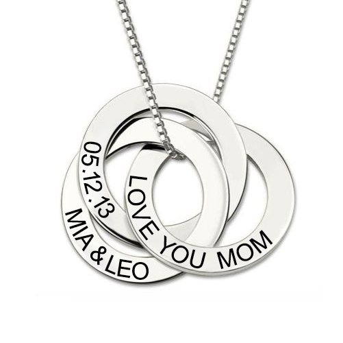 Engraved Russian Ring Necklace Sterling Silver