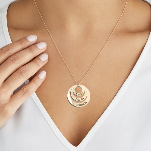 Engravable Classic Discs Necklace 18k Gold Plated