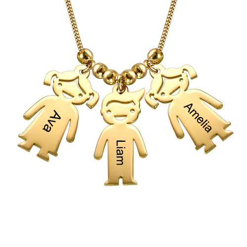 Kids Charms Mother Necklace Gold Plated Silver