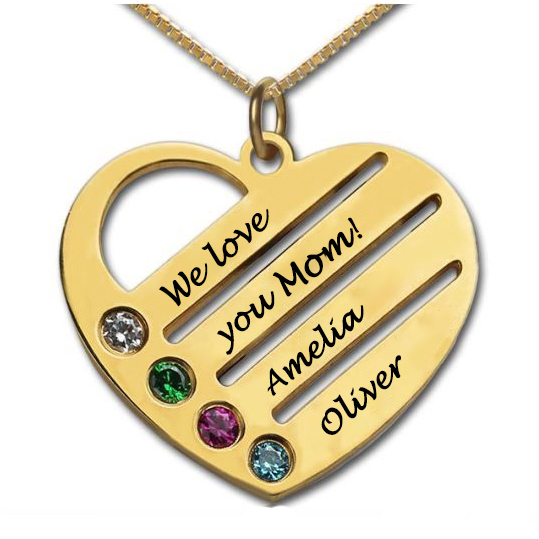 18k Gold Plated Mothers Birthstone