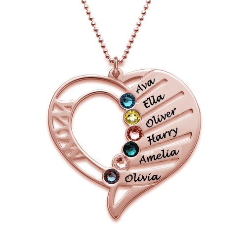 Engraved Heart Mother Necklace In Rose Gold11