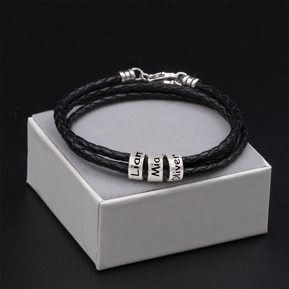 Men Braided Black Leather Bracelet3