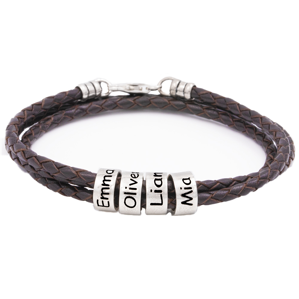 Men Braided Brown Leather Bracelet