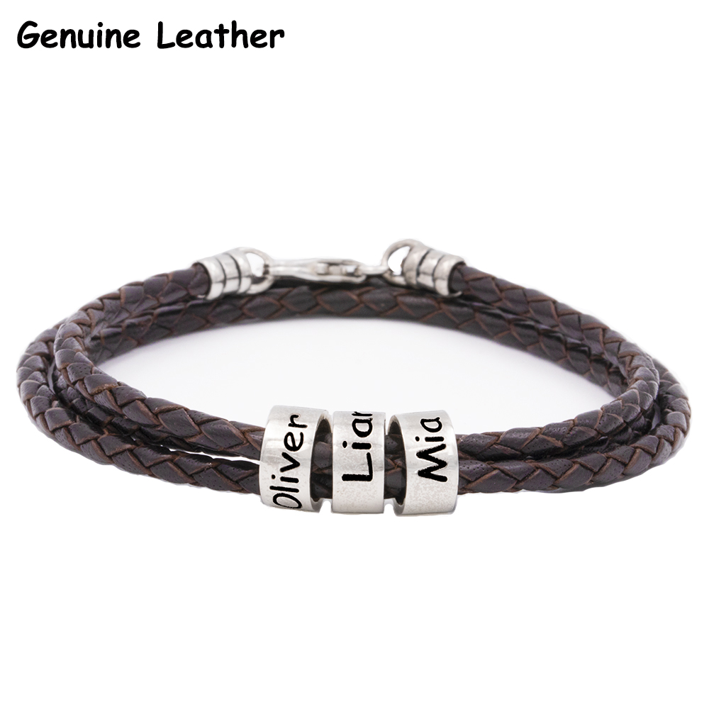 Men Braided Brown Leather Bracelet2
