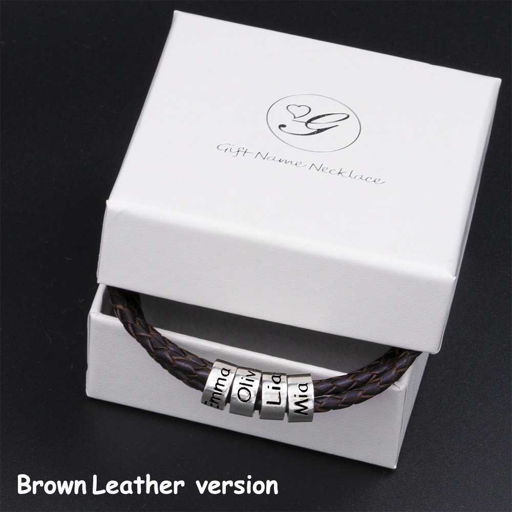 Men Braided Black Leather Bracelet7